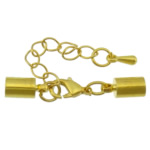 Brass Lobster Claw Cord Clasp, gold color plated, with end cap, nickel, lead & cadmium free, 32mm, 8.5x4mm, Inner Diameter:Approx 3mm, 200Sets/Lot, Sold By Lot