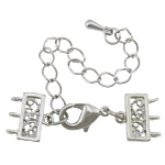 Brass Lobster Claw Cord Clasp, platinum color plated, with connector bar & 3-strand & hollow, nickel, lead & cadmium free, 36mm, 10.5x11.5mm, Hole:Approx 2mm, 100Sets/Lot, Sold By Lot