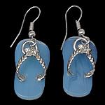 Морской опал Сережка, с Латунь, латунь крюк, Обувь, Платиновое покрытие платиновым цвет, 40mm, 12x22x2mm, 20Пары/Лот, продается Лот