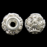 brass, Round, silver color plated, with rhinestone & hollow, nickel, lead & cadmium free, 12mm, Hole:Approx 3mm, 5PCs/Bag, Sold By Bag