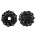 Rhinestone Resin Beads, Round, with rhinestone, black, 10mm, Hole:Approx 1.5mm, 10PCs/Bag, Sold by Bag