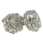 Zinc Alloy European Beads, Rondelle, platinum color plated, without troll & with rhinestone, nickel, lead & cadmium free, 15x10mm, Hole:Approx 5.5mm, 10PCs/Bag, Sold by Bag