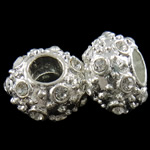 Zinc Alloy European Beads, Rondelle, silver color plated, without troll & with rhinestone, nickel, lead & cadmium free, 17x11mm, Hole:Approx 6mm, 10PCs/Bag, Sold by Bag