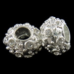Zinc Alloy European Beads, Rondelle, silver color plated, without troll & with rhinestone, nickel, lead & cadmium free, 15x10mm, Hole:Approx 6mm, 10PCs/Bag, Sold by Bag