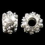 Zinc Alloy European Beads, Rondelle, silver color plated, without troll & with rhinestone, nickel, lead & cadmium free, 12x7mm, Hole:Approx 4mm, 10PCs/Bag, Sold by Bag