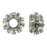 Zinc Alloy European Beads, Rondelle, platinum color plated, without troll & with rhinestone, nickel, lead & cadmium free, 11.5x8mm, Hole:Approx 4mm, approx 10PCs/Bag, Sold by Bag