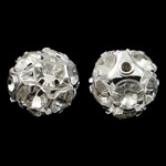 Brass Jewelry Beads, Round, silver color plated, with rhinestone & hollow, nickel, lead & cadmium free, 12mm, Hole:Approx 1mm, 10PCs/Bag, Sold by Bag