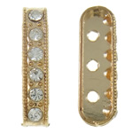Zinc Alloy Spacer Bar, Oval, KC gold color plated, 3-strand & with rhinestone, nickel, lead & cadmium free, 6x20x4mm, Hole:Approx 1.5mm, 10PCs/Bag, Sold By Bag