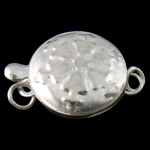Iron Box Clasp, Flat Round, silver color plated, single-strand, nickel, lead & cadmium free, 11.50x17x6mm, Hole:Approx 2mm, 10PCs/Bag, Sold By Bag