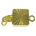 Brass Box Clasp, Square, gold color plated, single-strand, nickel, lead & cadmium free, 8x16x4.50mm, Hole:Approx 1-1.5mm, 10PCs/Bag, Sold By Bag