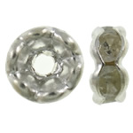 Rhinestone Spacers, Brass, Donut, silver color plated, with rhinestone, nickel, lead & cadmium free, 6x3mm, Hole:Approx 1.5mm, 100PCs/Bag, Sold By Bag