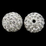 Rhinestone Clay Pave Beads, Round, with rhinestone, white, 14mm, Hole:Approx 1.5mm, 10PCs/Bag, Sold by Bag
