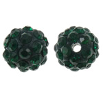 Rhinestone Clay Pave Beads, Round, with rhinestone, green, 10mm, Hole:Approx 1.5mm, 10PCs/Bag, Sold by Bag