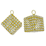 Rhinestone Brass Pendants, Cube, gold color plated, with rhinestone & hollow, nickel, lead & cadmium free, 23mm, Hole:Approx 4.5mm, 5PCs/Bag, Sold By Bag