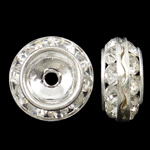 Rhinestone Spacers, Brass, Rondelle, silver color plated, with rhinestone, nickel, lead & cadmium free, 13x6mm, Hole:Approx 1mm, 10PCs/Bag, Sold By Bag