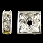 Rhinestone Spacers, Brass, Squaredelle, silver color plated, with rhinestone, nickel, lead & cadmium free, 8x3mm, Hole:Approx 1.5mm, 100PCs/Bag, Sold By Bag