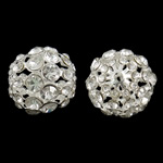 Rhinestone Brass Beads, Round, silver color plated, with rhinestone & hollow, nickel, lead & cadmium free, 23mm, Hole:Approx 2.5mm, 5PCs/Bag, Sold By Bag