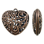 Zinc Alloy Heart Pendants, antique copper color plated, hollow, nickel, lead & cadmium free, 40x40x15mm, Hole:Approx 3mm, Approx 20PCs/Bag, Sold By Bag
