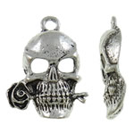 Zinc Alloy Skull Pendants, antique silver color plated, nickel, lead & cadmium free, 17x24x4mm, Hole:Approx 2mm, Approx 165PCs/KG, Sold By KG