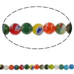 Бисер, выполненный в технике миллефиори, шеврон, Круглая, Связанный вручную, разноцветный, 6mm, отверстие:Приблизительно 1mm, длина:Приблизительно 14.7 дюймовый, 10пряди/Лот, продается Лот
