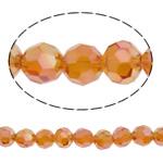 Koraliki z kryształów CRYSTALLIZED™ego, CRYSTALLIZED™, Koło, Platerowane kolorem, fasetowany, czerwonawopomarańczowy, 6mm, otwór:około 1mm, około 72komputery/Strand, sprzedawane na około 15.7 cal Strand