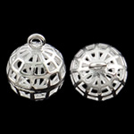 Hollow Brass Pendants, Round, silver color plated, nickel, lead & cadmium free, 13x16mm, Hole:Approx 1.5mm, 50PCs/Bag, Sold By Bag