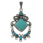 Resin Zinc Alloy Connector, with Turquoise & Resin, antique silver color plated, 1/5 loop, lead & cadmium free, 36x71x8mm, Hole:Approx 6x11mm, 10PCs/Bag, Sold By Bag