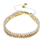Iron Friendship Bracelet, with Nylon Cord & Brass, gold color plated, with rhinestone, white, nickel, lead & cadmium free, 12x14mm, 11mm, 4mm, 7mm, Length:7-12 Inch, 10Strands/Lot, Sold By Lot