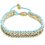 Iron Friendship Bracelet, with Nylon Cord & Brass, gold color plated, with rhinestone, blue, nickel, lead & cadmium free, 12x14mm, 11mm, 4mm, 7mm, Length:7-12 Inch, 10Strands/Lot, Sold By Lot