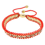 Iron Friendship Bracelet, with Nylon Cord & Brass, gold color plated, with rhinestone, red, nickel, lead & cadmium free, 12x14mm, 11mm, 4mm, 7mm, Length:7-12 Inch, 10Strands/Lot, Sold By Lot