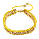 Iron Friendship Bracelet, with Nylon Cord & Brass, gold color plated, with rhinestone, yellow, nickel, lead & cadmium free, 12x14mm, 11mm, 4mm, 7mm, Length:7-12 Inch, 10Strands/Lot, Sold By Lot