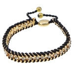 Iron Friendship Bracelet, with Nylon Cord & Brass, gold color plated, with rhinestone, black, nickel, lead & cadmium free, 11x13mm, 11mm, 4mm, 7mm, Length:7-12 Inch, 10Strands/Lot, Sold By Lot
