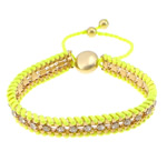Friendship Bracelet, Iron, with Nylon Cord & Brass, gold color plated, with rhinestone, green, nickel, lead & cadmium free, 12x14mm, 11mm, 4mm, 7mm, Length:7-12 Inch, 10Strands/Lot, Sold By Lot