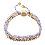 Iron Friendship Bracelet, with Nylon Cord & Brass, gold color plated, with rhinestone, purple, nickel, lead & cadmium free, 12x14mm, 11mm, 4mm, 7mm, Length:7-12 Inch, 10Strands/Lot, Sold By Lot