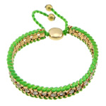 Iron Friendship Bracelet, with Nylon Cord & Brass, gold color plated, with rhinestone, green, nickel, lead & cadmium free, 12x14mm, 11mm, 4mm, 7mm, Length:7-12 Inch, 10Strands/Lot, Sold By Lot