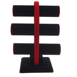 Velveteen Bracelet Display, with Wood, black, 300x220x150mm, 5PCs/Lot, Sold By Lot