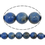 Koraliki Lapis Lazuli, Lapis lazuli naturalny, Koło, błękit, 8mm, otwór:około 1mm, długość:około 16 cal, 3nici/wiele, około 50komputery/Strand, sprzedane przez wiele