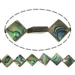 Koraliki Abalone, Muszla Abalone, Romb, 8x8mm, otwór:około 1mm, długość:około 16 cal, 5nici/wiele, około 38komputery/Strand, sprzedane przez wiele
