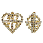 Rhinestone Brass Pendants, Heart, KC gold color plated, with rhinestone & hollow, nickel, lead & cadmium free, 27.50x32x22mm, Hole:Approx 5x2.5mm, 2PCs/Bag, Sold By Bag