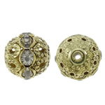 Rhinestone Brass Beads, Round, antique bronze color plated, with rhinestone & hollow, nickel, lead & cadmium free, 12mm, Hole:Approx 1.5mm, 10PCs/Bag, Sold By Bag