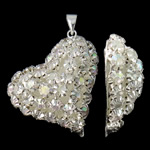 Rhinestone Brass Pendants, Heart, silver color plated, with rhinestone & hollow, nickel, lead & cadmium free, 28x33x10mm, Hole:Approx 3x4.5mm, 2PCs/Bag, Sold By Bag