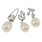 Freshwater Pearl Pendants, with Brass, platinum color plated, mixed, 6-9mm, Hole:Approx 2x3.5-3x7mm, 20PCs/Bag, Sold By Bag