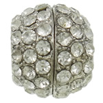 Zinc Alloy Magnetic Clasp, Drum, platinum color plated, with rhinestone, nickel, lead & cadmium free, 11.5x14mm, Hole:Approx 6.5mm, 10PCs/Bag, Sold By Bag