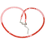 Fashion Necklace Cord, Plastic Net Thread Cord, with Crystal, brass lobster clasp, with 2.5lnch extender chain, red, 4mm, Length:20Inch, 30Strands/Lot, Sold By Lot