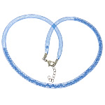 Fashion Necklace Cord, Plastic Net Thread Cord, with Crystal, brass lobster clasp, with 2.5lnch extender chain, blue, 4mm, Length:20Inch, 30Strands/Lot, Sold By Lot
