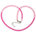 Fashion Necklace Cord, Plastic Net Thread Cord, with Crystal, brass lobster clasp, with 2.5lnch extender chain, rose pink, 4mm, Length:20Inch, 30Strands/Lot, Sold By Lot