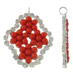 Brass Jewelry Pendants, Rhombus, silver color plated, with glass pearl & with rhinestone, red, lead & cadmium free, 23x31.50x3.50mm, Hole:Approx 2.5mm, 20PCs/Bag, Sold By Bag