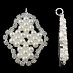 Brass Jewelry Pendants, Rhombus, silver color plated, with glass pearl & with rhinestone, white, lead & cadmium free, 23x31.50x3.50mm, Hole:Approx 2.5mm, 20PCs/Bag, Sold By Bag