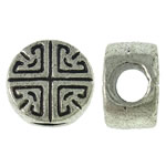 Zinc Alloy European Beads, Coin, antique silver color plated, without troll, nickel, lead & cadmium free, 10x6.5mm, Hole:Approx 4mm, 380PCs/KG, Sold By KG