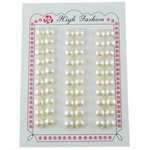 Half Drilled Cultured Freshwater Pearl Beads, Dome, natural, half-drilled, white, 8-8.5mm, Hole:Approx 0.5mm, 30Pairs/Lot, Sold By Lot